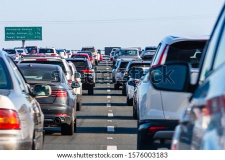 Heavy traffic on one of the freeways crossing East San Francisco bay area;  #1576003183