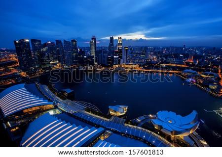 View of Singapore city skyline at night #157601813