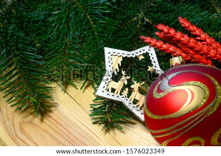 Christmas ball and decoration with green fir tree on wooden background. Xmas time. Xmas background frame #1576023349