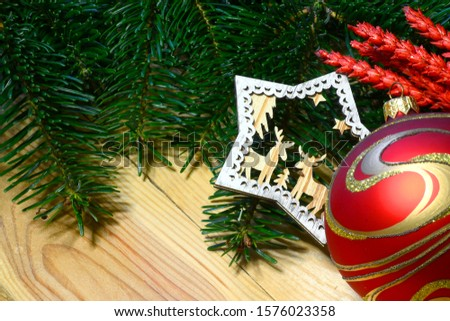 Christmas ball and decoration with green fir tree on wooden background. Xmas time. Xmas background frame #1576023358