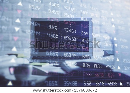 Stock market graph on background with desk and personal computer. Multi exposure. Concept of financial analysis. #1576030672