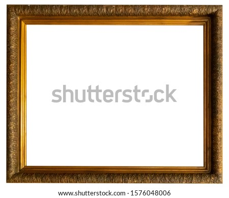 Gold vibackgroundntage picture frame isolated on white