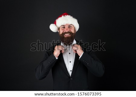 Corporate christmas party. Bank worker. Man bearded hipster wear santa hat. Christmas spirit concept. Insurance services. Manager celebrate new year. Christmas party. Corporate holiday party ideas. #1576073395