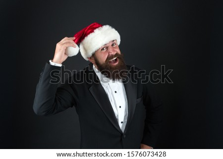Insurance services. Manager celebrate new year. Christmas party. Bank worker. Man bearded hipster wear santa hat. Christmas spirit concept. Corporate holiday party ideas. Corporate christmas party. #1576073428