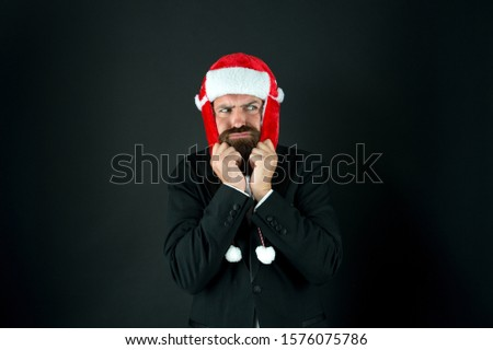 Warm yourself when its cold. Unhappy businessman shiver in cold. Bearded man feel cold dark background. Chilly winter season. December frost and cold. Coldness. Warm fashion wear and accessory. #1576075786