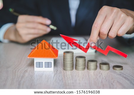 coins money setting growth up increase to house model for concept investment mortgage finance and home loan business, business, innovation, growth and money #1576196038