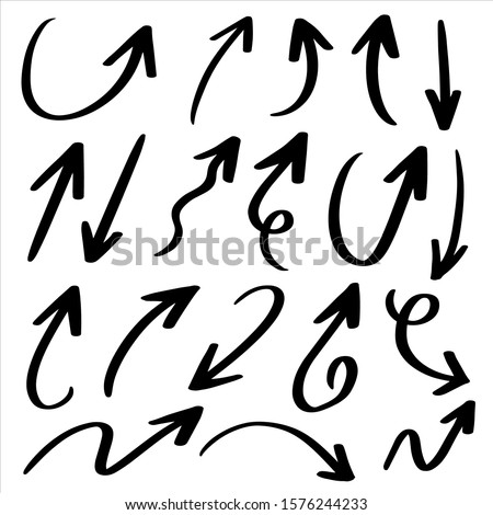 Hand drawn arrow vector icons set. sketch arrow design for business plan and education. #1576244233