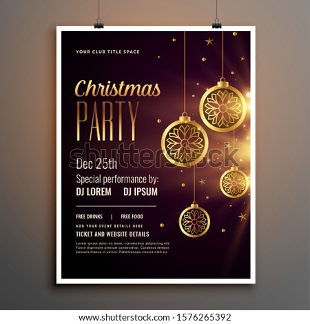golden christmas celebration party flyer design template #1576265392