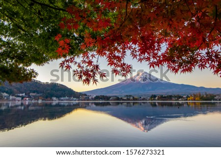 Fuji Mountain and Red Maple Leaves blooming vividly in Autumn at Sunsrise, Kawaguchiko Lake, Japan #1576273321