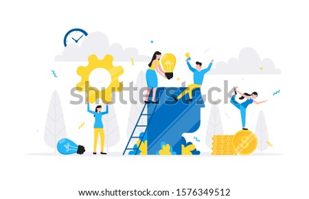 Teamwork concept with tiny people characters working together with big head, light bulb and tiny people characters. Teamwork and time management concept flat style design vector illustration isolated. #1576349512