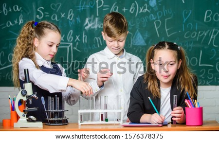 School chemistry lesson. Test tubes with substances. Formal education. Girls and boy student conduct school experiment with liquids. School laboratory. Group school pupils study chemical liquids. #1576378375