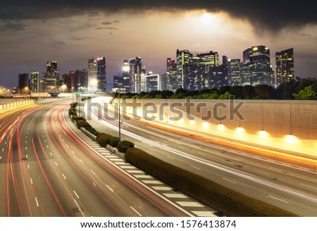 Singapore cityscape skyline during sunset with traffic - Transportation #1576413874