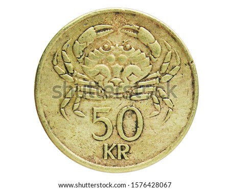 50 Kronur (Crab) coin, 1980~Today - New Króna - Circulation serie, Bank of Iceland. Obverse, issued on 1987. Isolated on white #1576428067
