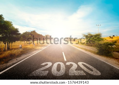 2020 on the street with sunlight background. Happy New Year 2020 #1576439143