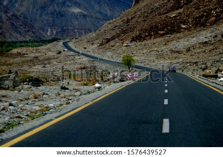 Karakoram Highway amongst the most beautiful highways of the world leading towards Hunza from Gilgit. Its landscape is amazing and you will love to travel on it. Photo captured at Nomal on highway. #1576439527