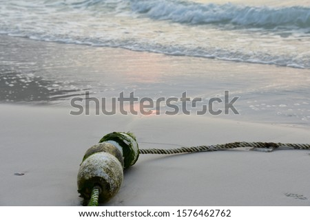 Rusty and mossy white pontoon with rope on sandy beach. It is early morning during sunlight with reflection of sunlight on sea water and the sand. #1576462762