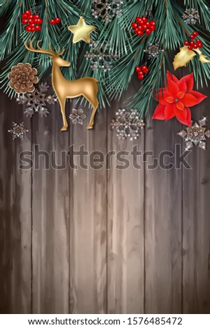 Christmas and New Year poster. Christmas decorations, gold figurine of a deer, poinsettia flowers and sparkling transparent glass snowflakes against of the wooden background #1576485472