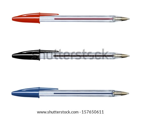 Pens collection isolated on white (with clipping work path) Royalty-Free Stock Photo #157650611