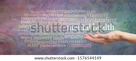 Mental Health Awareness Word Cloud - female hand palm up with the words MENTAL HEALTH floating above surrounded by a relevant word cloud on a rustic grunge green magenta background  #1576544149