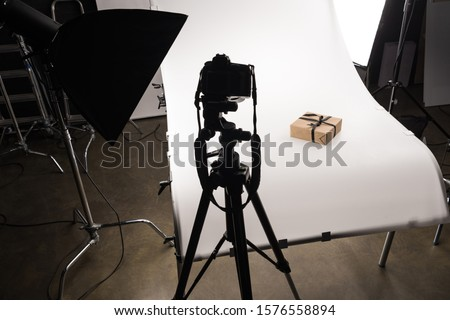 christmas present for commercial photography on digital camera on white in photo studio