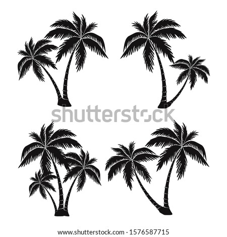 set of silhouettes of palm trees, exotic symbol, realistic style, vector image
