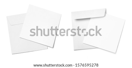 Set of square envelopes with blank papers, isolated on white background Royalty-Free Stock Photo #1576595278