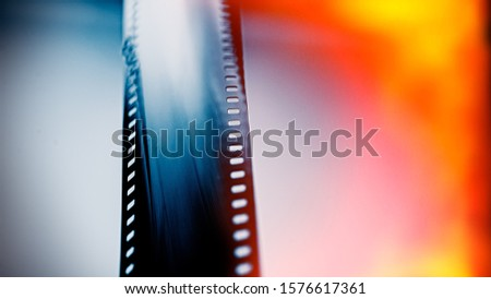 Developed black and white film in the studio. For design. Web banner.