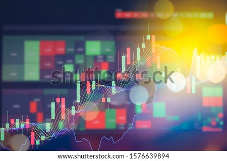 Stock market digital graph chart on LED display concept. A large display of daily stock market price and quotation. Indicator financial forex trade education background. Royalty-Free Stock Photo #1576639894