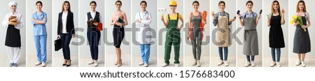 Collage with woman in uniforms of different professions  Royalty-Free Stock Photo #1576683400