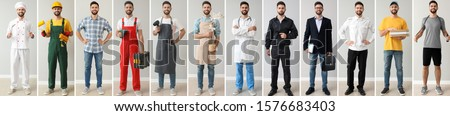 Collage with young man in uniforms of different professions  #1576683403