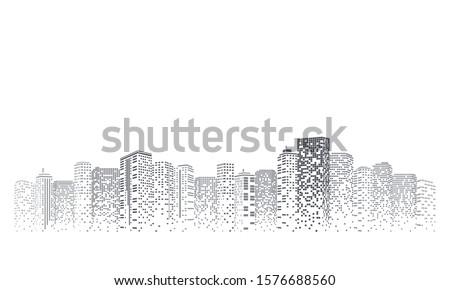 Digital building city Illustration at night, City scene on night time. Royalty-Free Stock Photo #1576688560