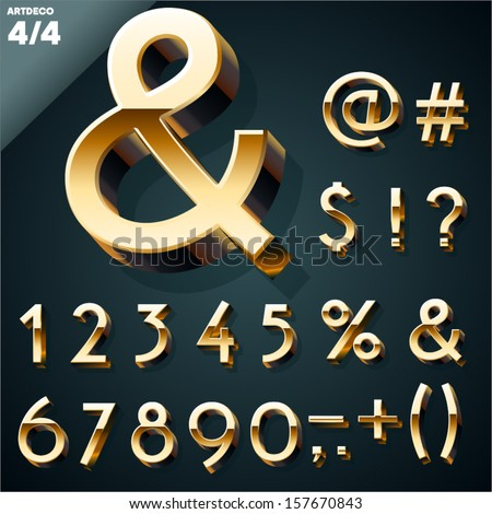 Vector illustration of golden 3D alphabet. Art Deco style. Set 4 #157670843