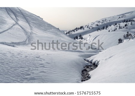 Winter landscape. river in the mountains  #1576715575