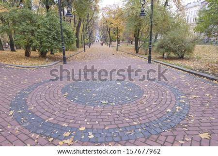 Autumn in a city park in Lviv, Ukraine.