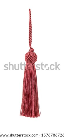 Small red tieback with rope isolated on a white background #1576786726
