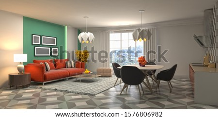 Interior of the living room. 3D illustration. #1576806982