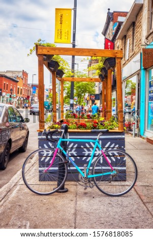 Montreal, Canada - June, 2018: Old city bicycle parked on mont royal street in Montreal, Canada. Editorial. #1576818085