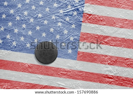 Washer and the image of the American flag on a hockey rink