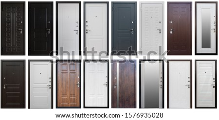 Isolated Door in different colors and metallic door handles. White,grey, black, brown, with mirror. opens left, right. Set of entrance metal doors. Royalty-Free Stock Photo #1576935028