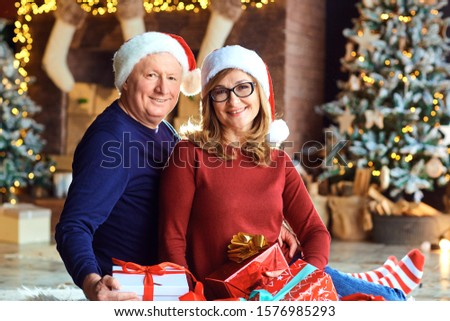 Grandmother and grandfather smiling in the house at Christmas #1576985293