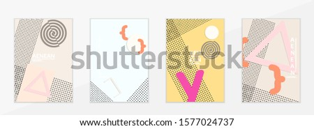 Abstract paper cut layout top view. Flyer templates with paper cut geometric shapes flat lay with 3d realistic shadow. Pastel colors. Vector cover set craft paper style. #1577024737