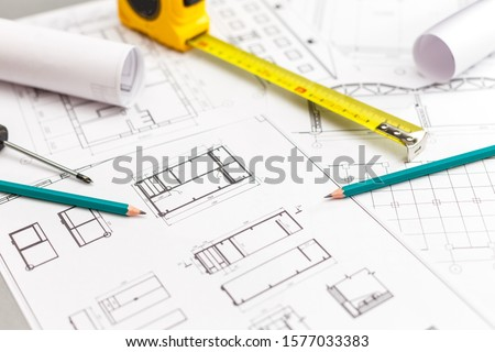 Architectural project, ruler and pencil. Construction background. #1577033383