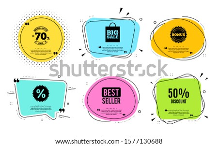 50% Discount. Best seller, quote text. Sale offer price sign. Special offer symbol. Quotation bubble. Banner badge, texting quote boxes. Discount text. Coupon offer. Vector #1577130688