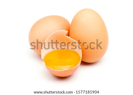 Chicken eggs isolated on a white background. #1577181904