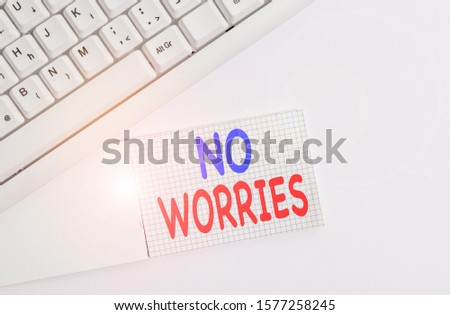 Handwriting text writing No Worries. Concept meaning an expression used to say that everything is all right White pc keyboard with empty note paper above white background. #1577258245