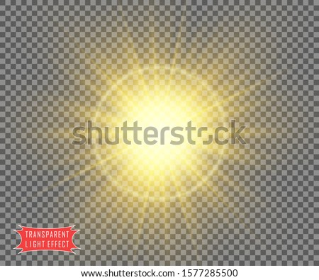 The sun is yellow on a transparent background with soft rays of the sun or a flash of a star. The vector object is isolated.