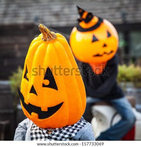 Pumpkin halloween head in party #157733069