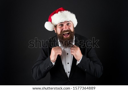 Corporate christmas party. Man bearded hipster wear santa hat. Christmas spirit concept. Manager celebrate new year. Christmas party. Corporate holiday ideas. Cheerful mood. Happiness and joy. #1577364889