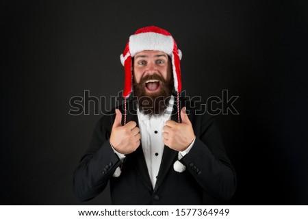 Make Christmas magic again. Happy santa boss give thumbs up. Businessman celebrate Christmas. Bearded man enjoy Christmas party. Merry christmas. Happy New Year. #1577364949