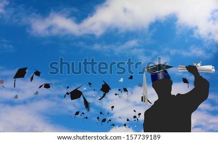 Graduation celebration with mortars flying  #157739189